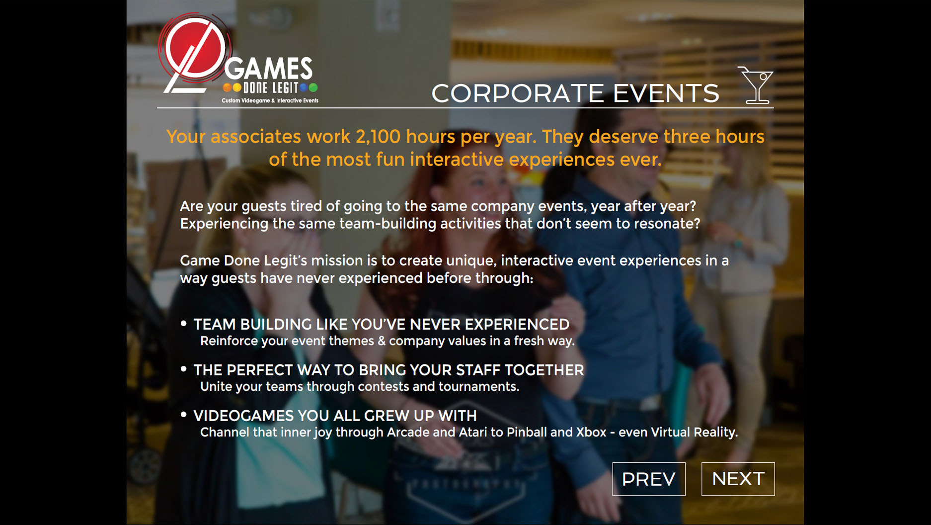 Games Done Legit PDF corporate events page.