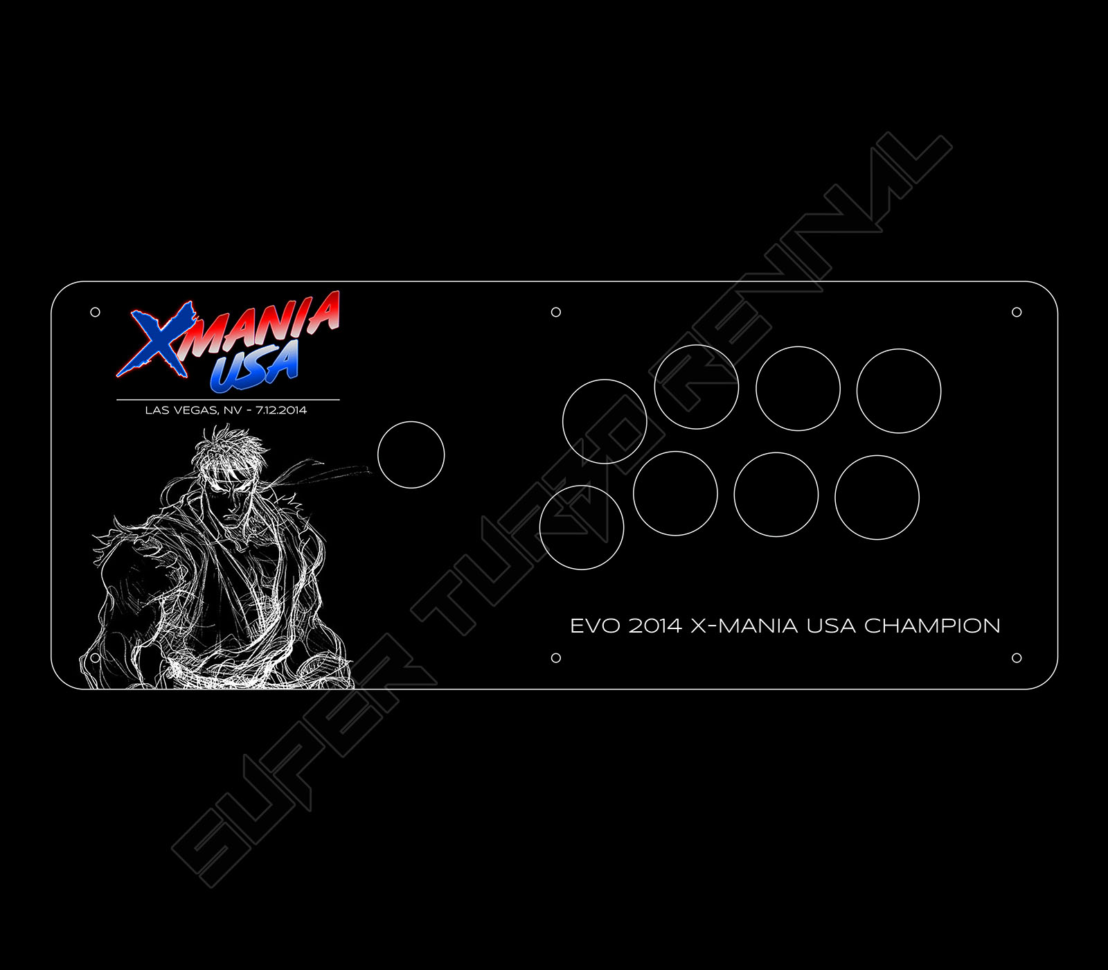 Art used for fightsticks that would be given to the winners of X-MANIA USA